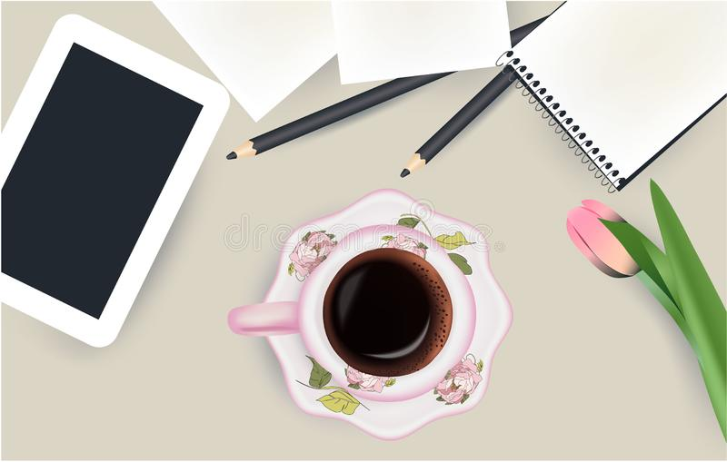 Cup of coffee, tablet, notepad top view stock illustration