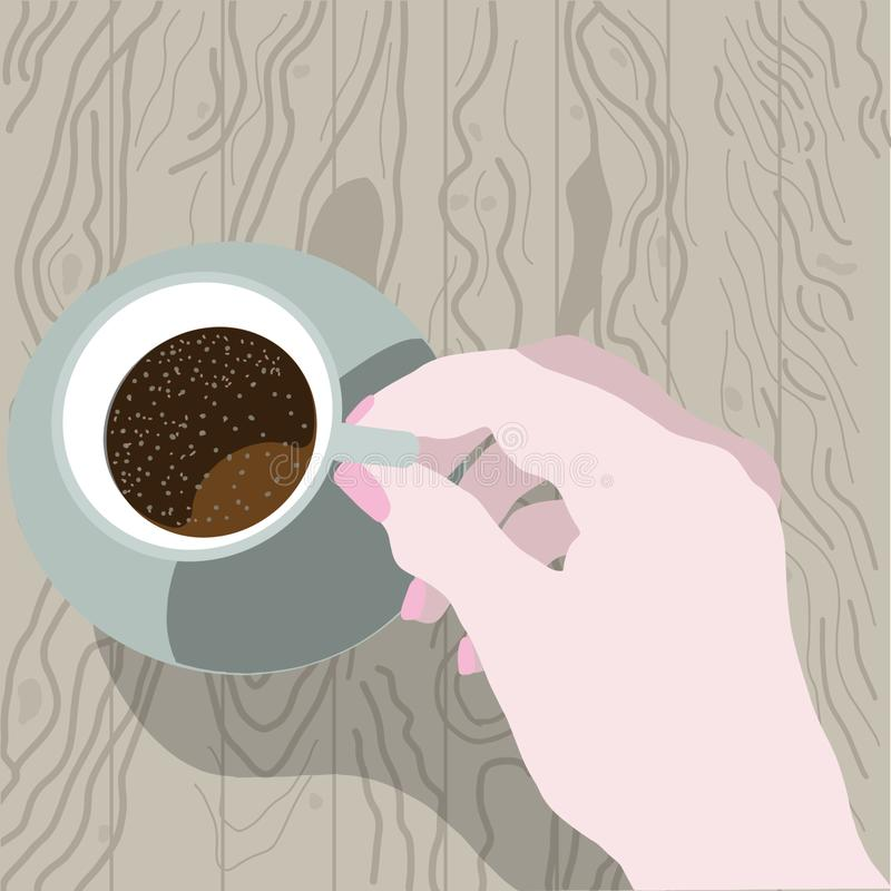 Cup of coffee top view on wooden background. Female hand holding cup. Illustration for poster, advertisement, flayers stock illustration