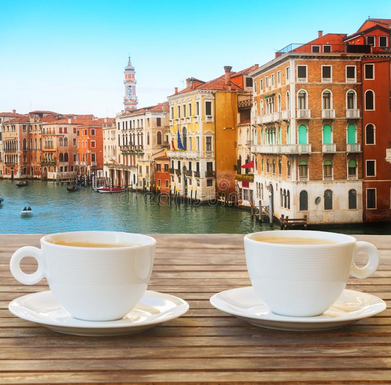Cup of coffee in Venice royalty free stock photo