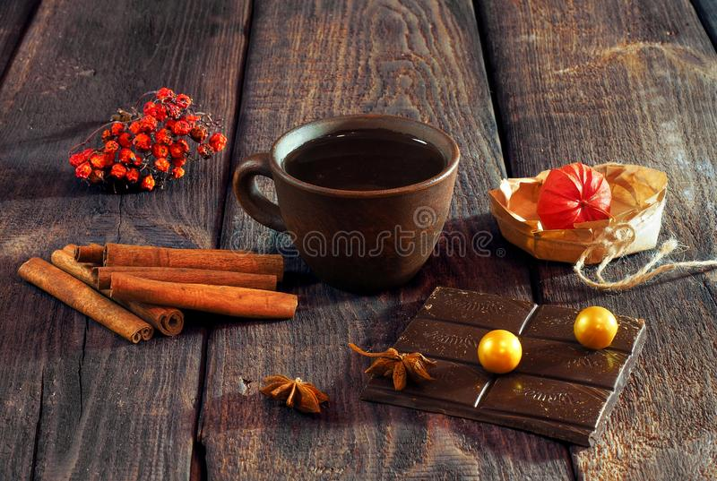A cup of coffee on a vintage wooden table. stock photography