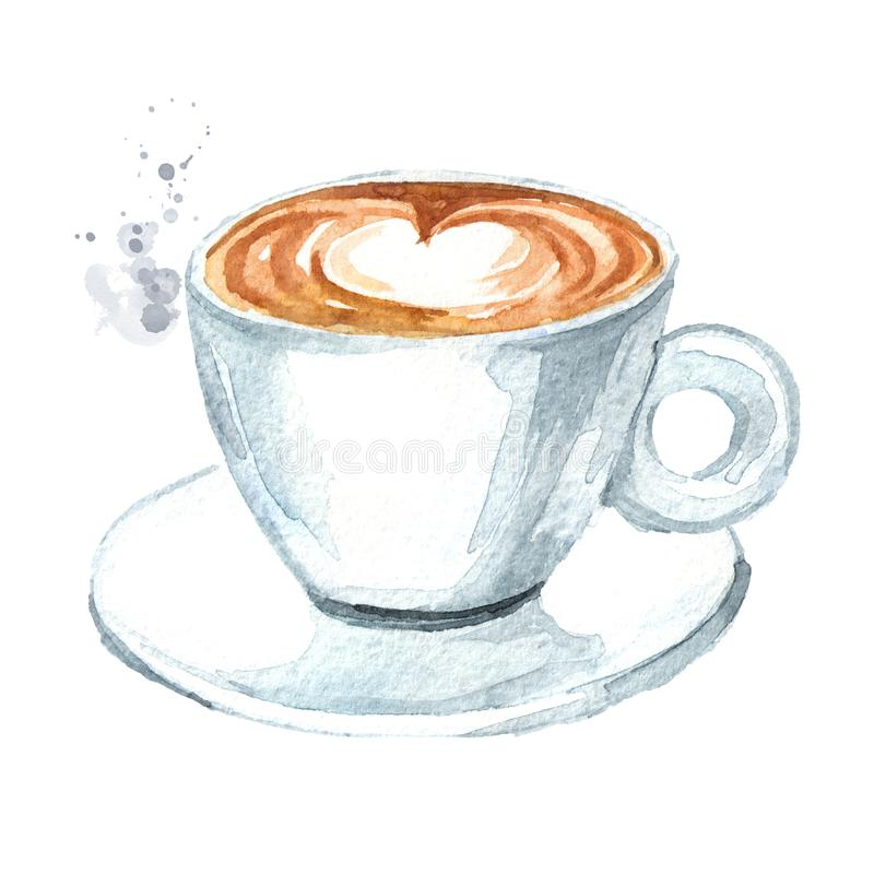 Cup of coffee. Watercolor hand drawn illustration, isolated on white background stock illustration