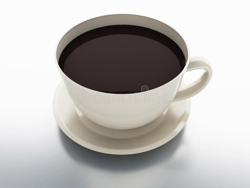 Cup of coffee on white background. 3d illustration stock illustration