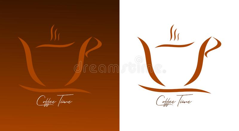A cup of coffee - a cup of coffee on a white and brown background. A cup of coffee on white and brown background. Caption under the cup. Graphic icon of cup of royalty free illustration