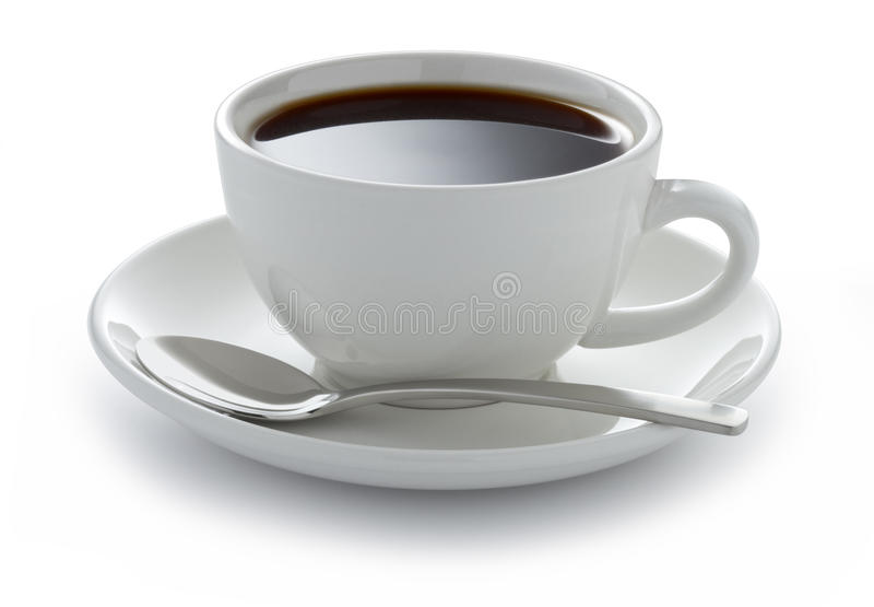 Cup Coffee Black White. A white coffee cup full of black coffee on a white background