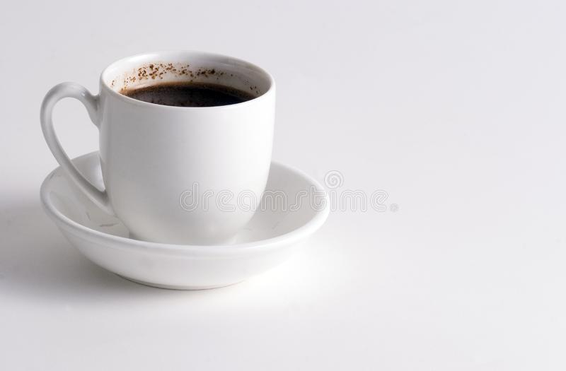 Cup of Coffee on white plate stock images