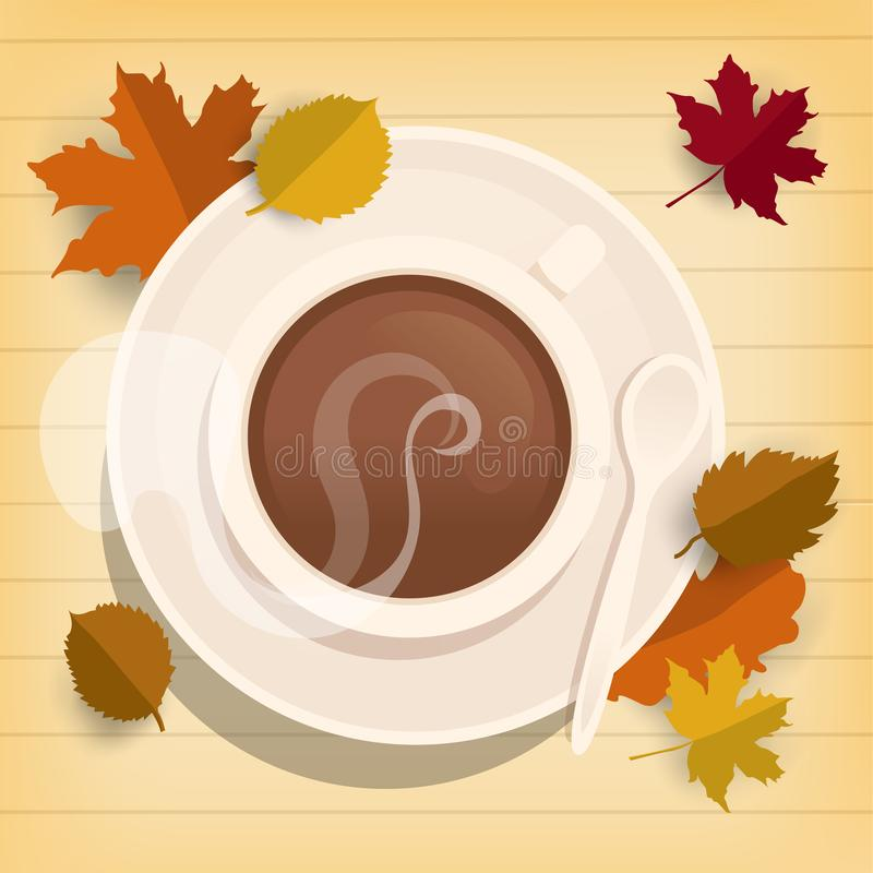 Cup of coffee on wooden table with autumn leaves, top view, Autumn background season concept. Flat vector illustration vector illustration