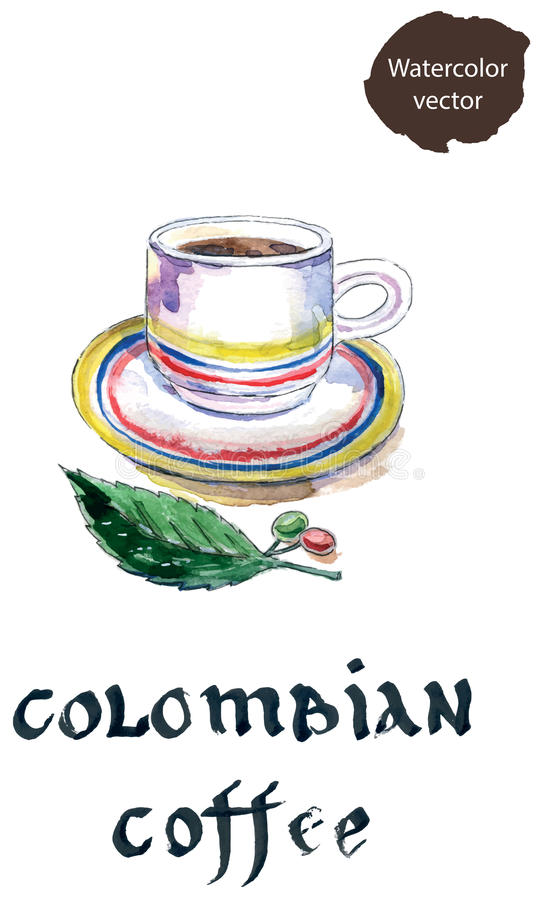 Cup of colombian coffee with coffee beans and leaf. Watercolor, hand drawn - vector Illustration royalty free illustration