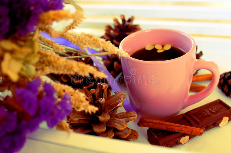 A cup of dark roasted espresso royalty free stock photography