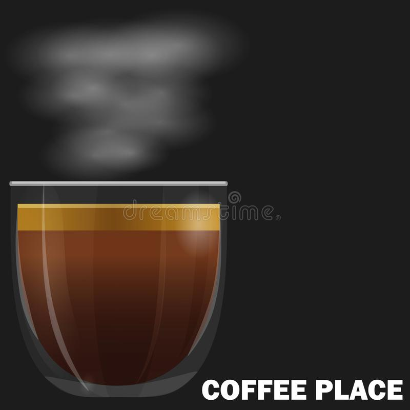 Cup of espresso coffee. On dark background royalty free illustration