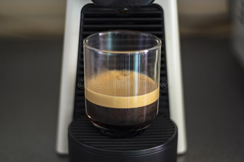 A cup of espresso coffee with foam and coffee machine.  stock photo