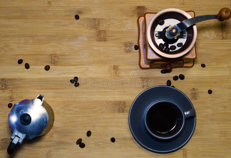 A cup of espresso coffee, an Italian coffee maker mokaA cup of espresso coffee,view from the top. A cup of espresso coffee, put on a wooden table, an Italian royalty free stock photography