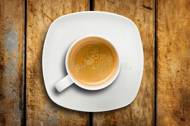Cup Espresso Coffee Saucer Wooden Table stock photo