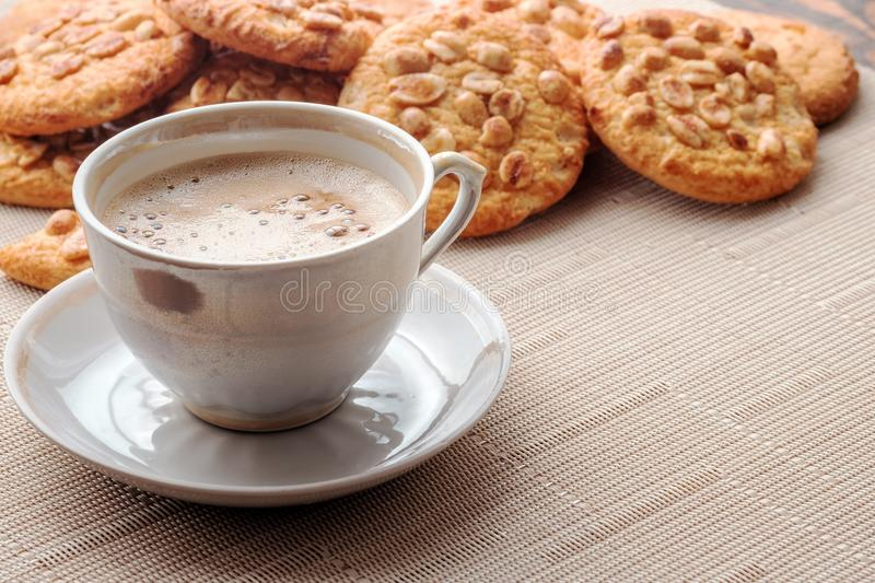 Cup of espresso and cookies royalty free stock images