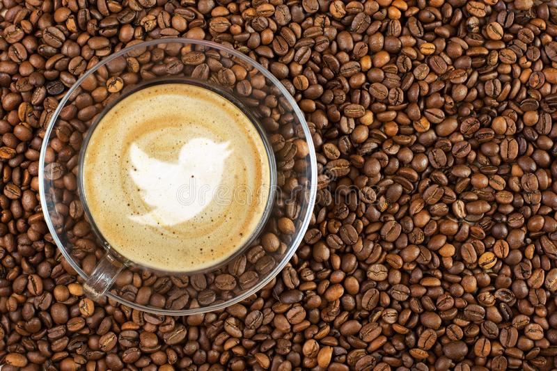 Cup of espresso with flying bird sign on coffee foam on coffee beans background. With copy space royalty free stock photos