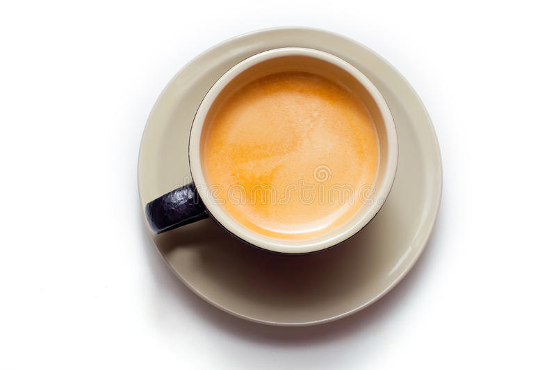 Cup of espresso isolated in a black cup stock images