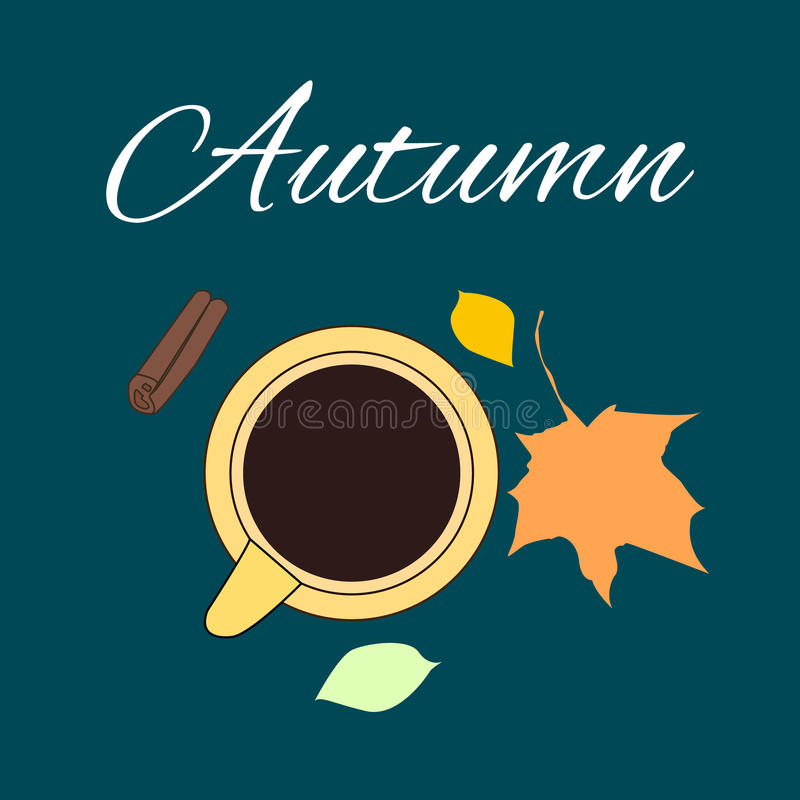 Cup with fall leaves and cinnamon. Hot chocolate cup with fall leaves and cinnamon vector illustration