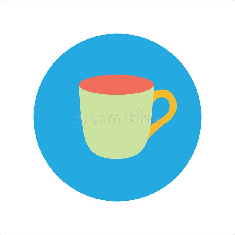 Cup flat icon Vector stock illustration
