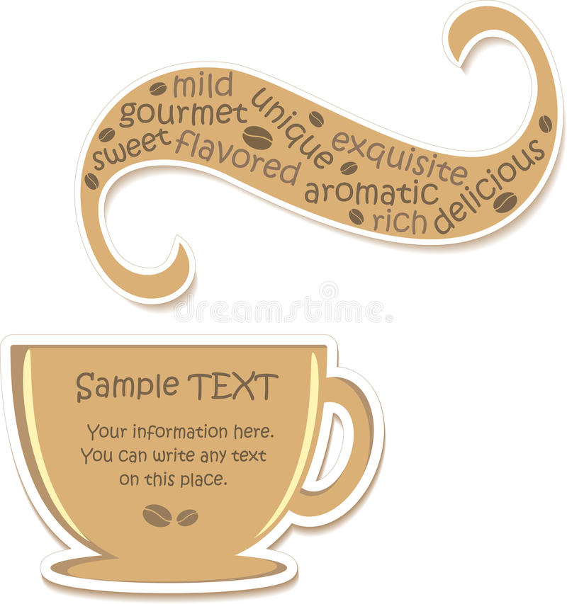 Cup Of Flavored Coffee (sticker) Royalty Free Stock Photos