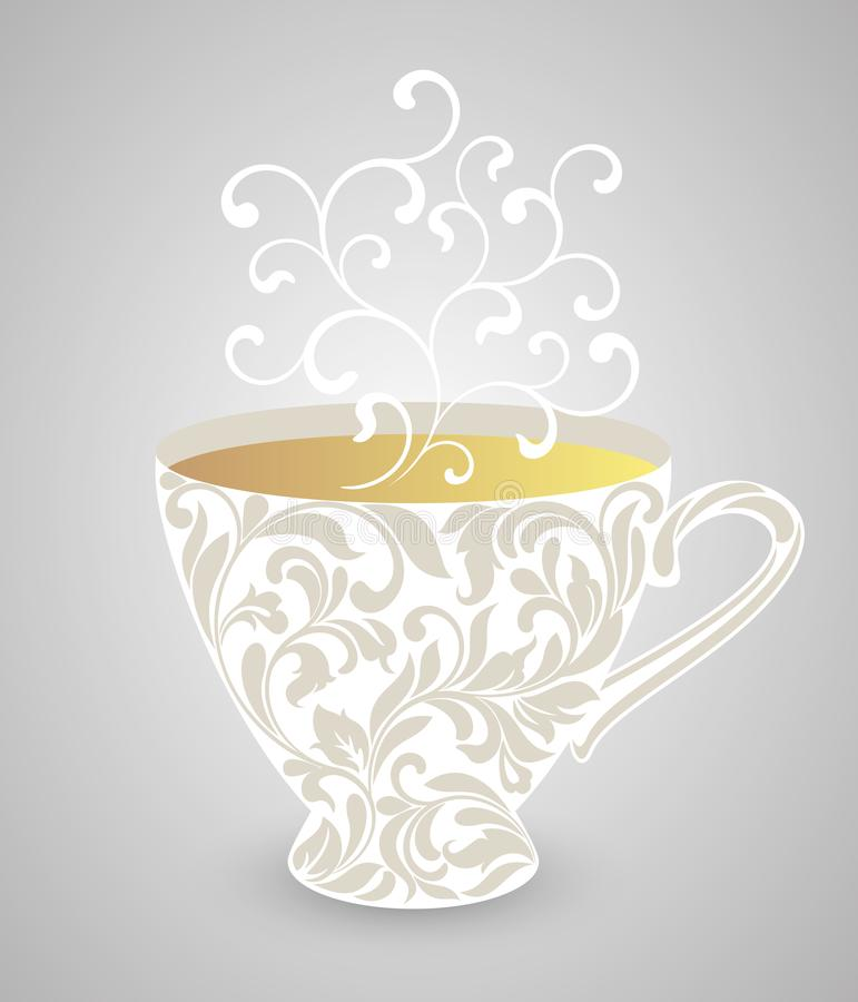 Cup with floral ornament and steam from swirls. Vintage cup tea or coffee with floral ornament and steam from swirls royalty free illustration