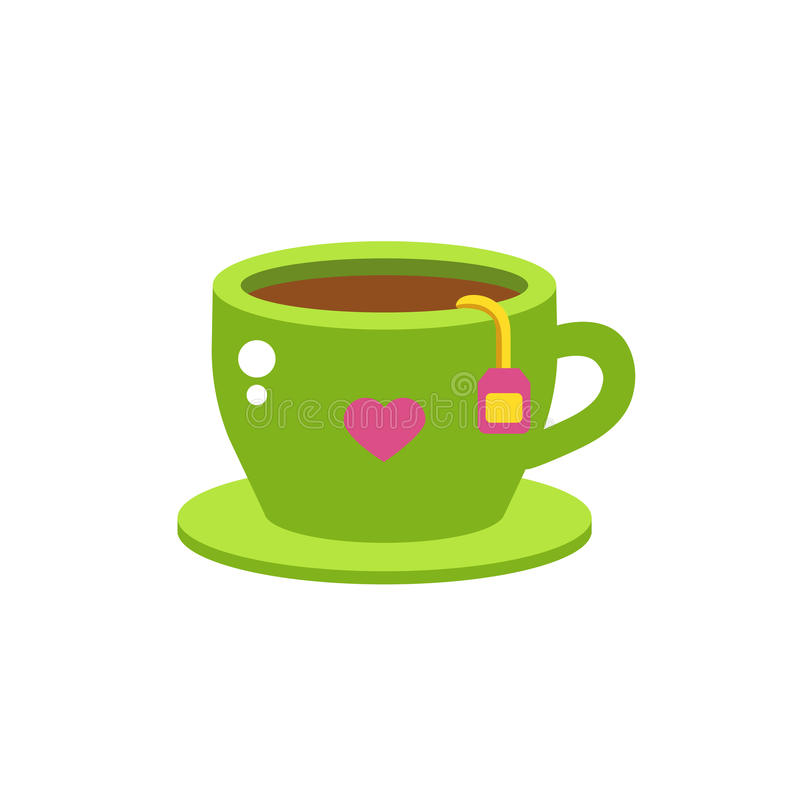 Cup of fresh hot green tea. Green tea cup vector illustration. Hot healthy drink relax eating. Fresh green antioxidant herbal organic liquid. Refreshment teacup stock illustration
