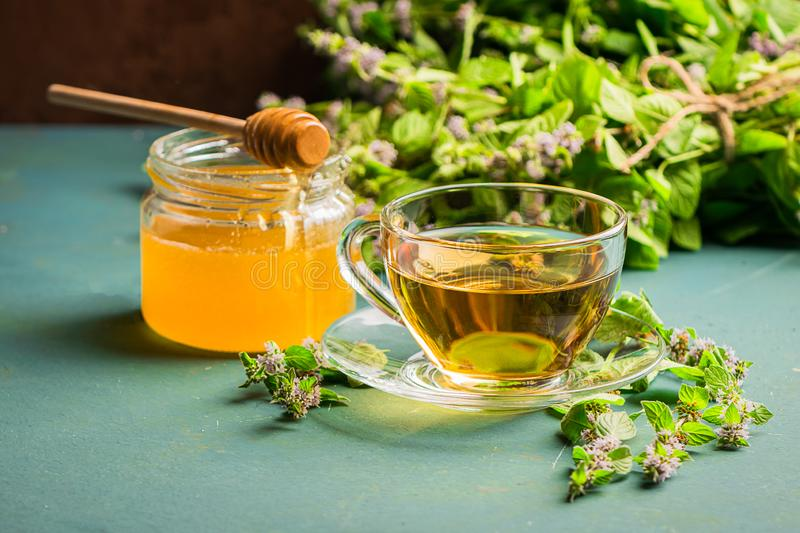 A cup of fresh tea with melissa mint leaves on a rustic background. Healing herbal drink. Horizontal frame. Selective focus. Copy space stock image