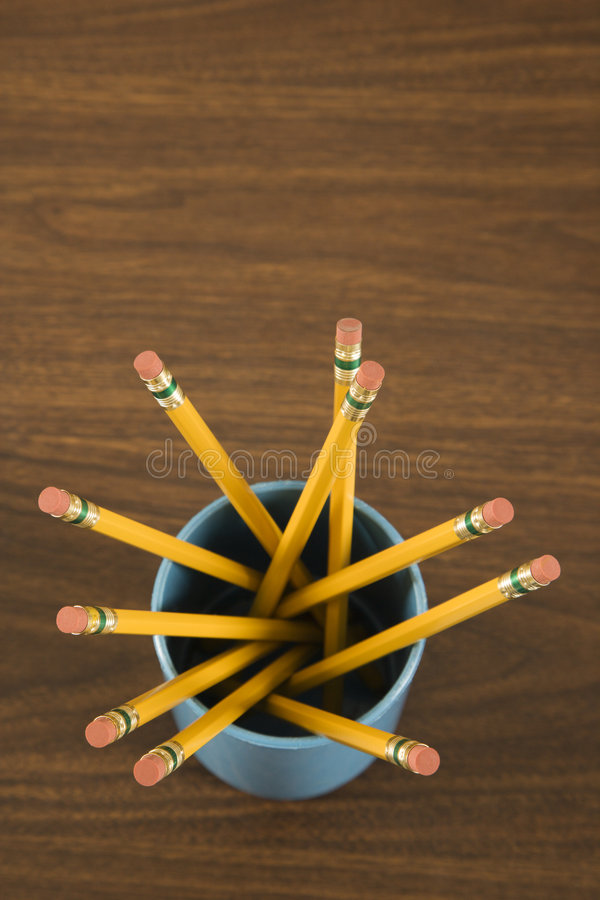 Cup full of pencils. royalty free stock images