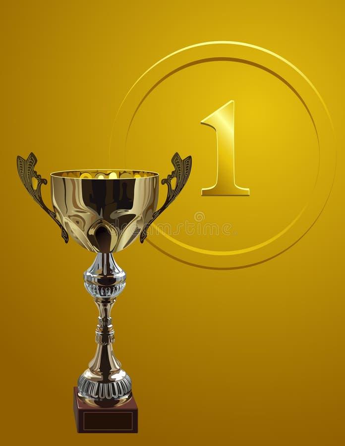 Cup_on_gold_background de concurrence illustration de vecteur