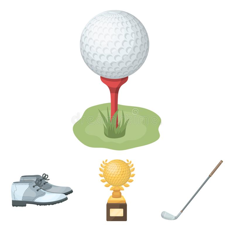 Golf related icon set. Cup, golf club, ball on the stand, golfer shoes.Golf club set collection icons in cartoon style vector symbol stock illustration vector illustration