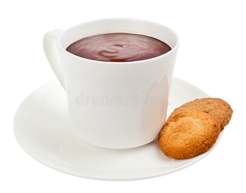 Cup Of Gourmet Hot Chocolate With Cookies Stock Photos