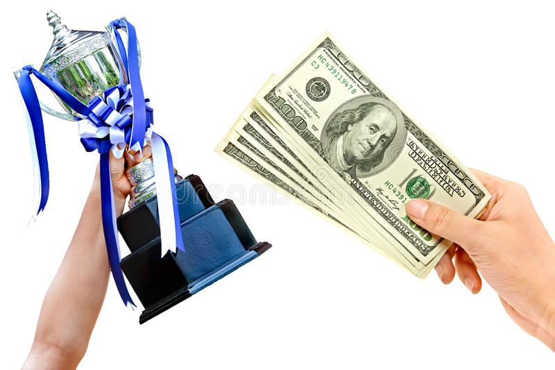Cup in hand. Money for win cup with ribbon isolated in hand stock image