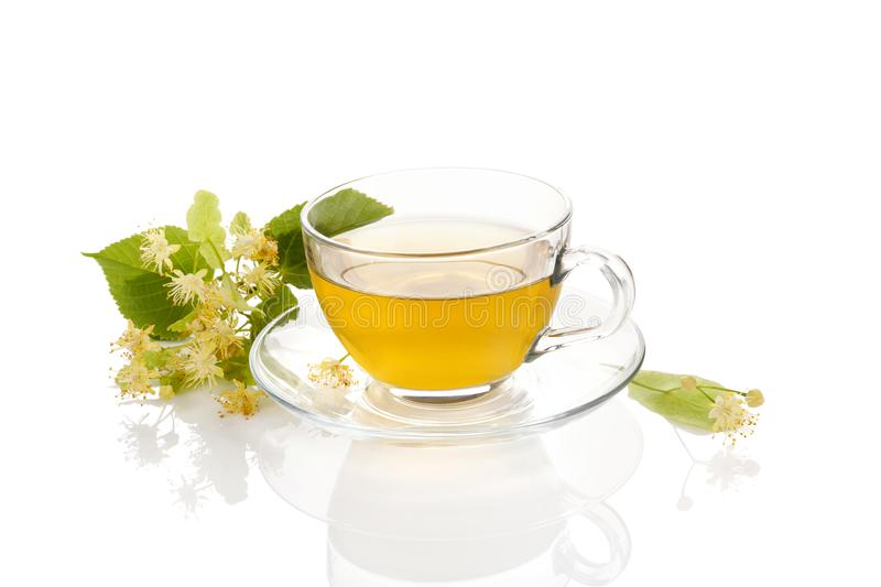 Cup of healthy herbal linden tea. royalty free stock photo