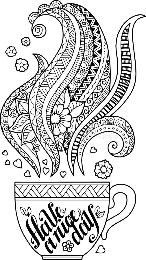A cup of herbal tea and coffee for a good day. Coloring book for Adult vector illustration