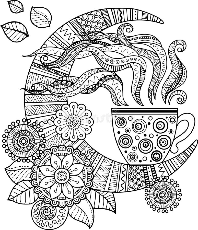 A cup of herbal tea and coffee for a good day. Coloring book for Adult stock illustration