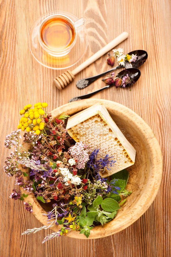 Cup of herbal tea with wild flowers and various herbs royalty free stock photography