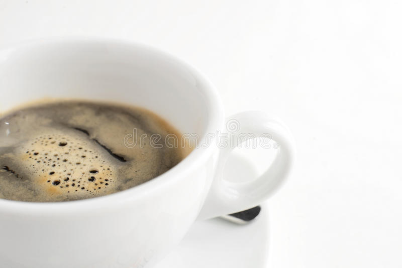 Cup of hot black coffee