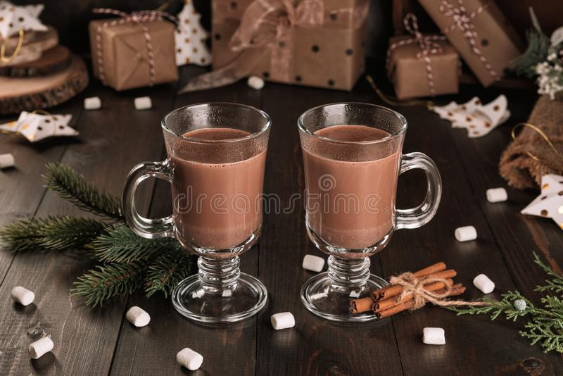 Cup of hot chocolate cocoa drink with cinnamon royalty free stock photo