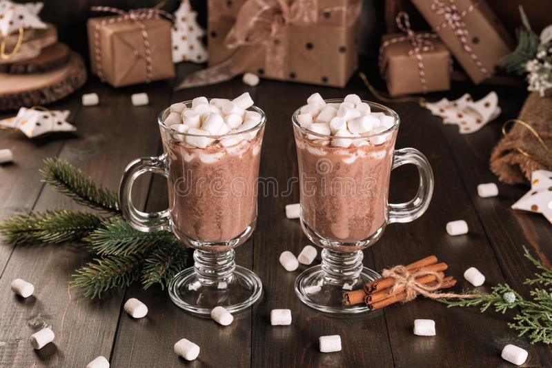 Cup of hot chocolate cocoa drink with a marshmallows royalty free stock photos