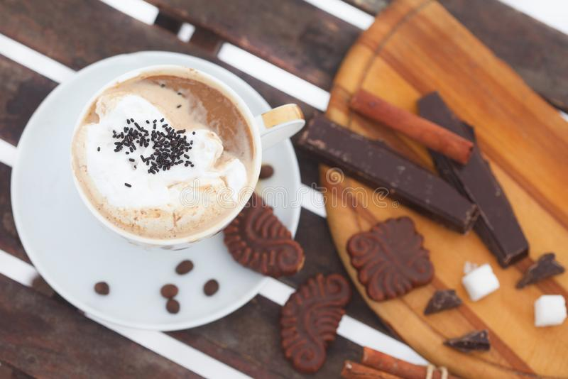 Cup of Hot chocolate or espresso with whipped cream royalty free stock photos