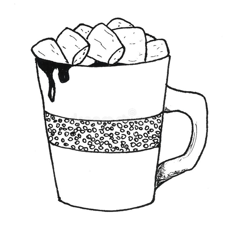 Cup of hot cocoa coffee with marshmallow graphics black and white illustration vector illustration