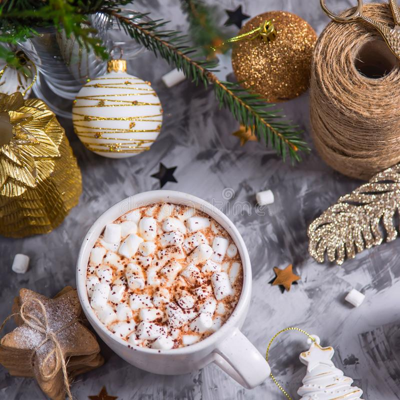 A cup of hot cocoa on the eve of Christmas stock images