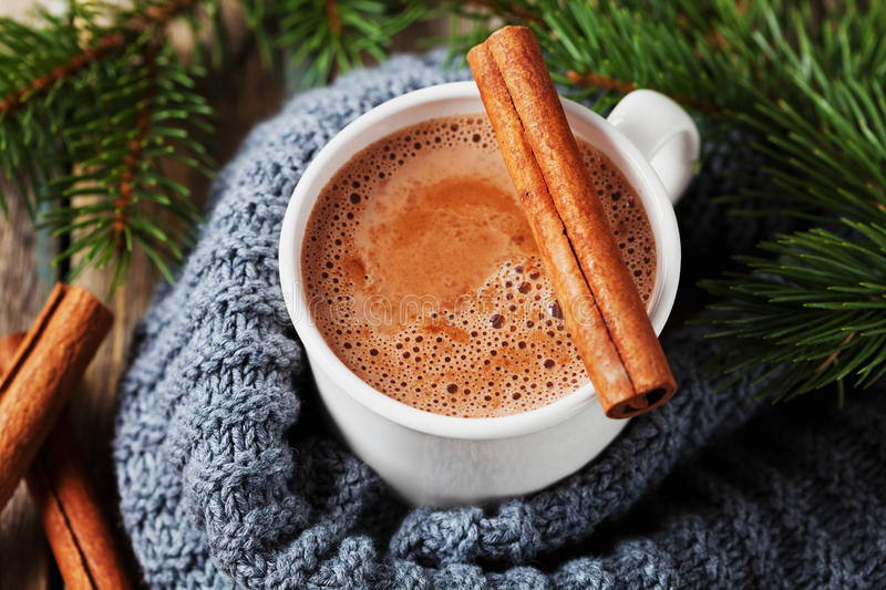 Cup of hot cocoa or hot chocolate on knitted background with fir tree and cinnamon sticks stock photography