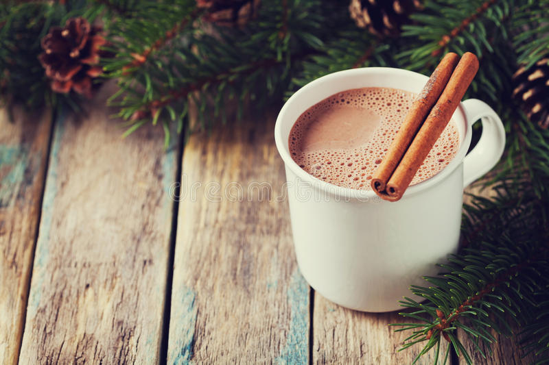 Cup of hot cocoa or hot chocolate on wooden background with fir tree and cinnamon sticks, traditional beverage for winter time stock image