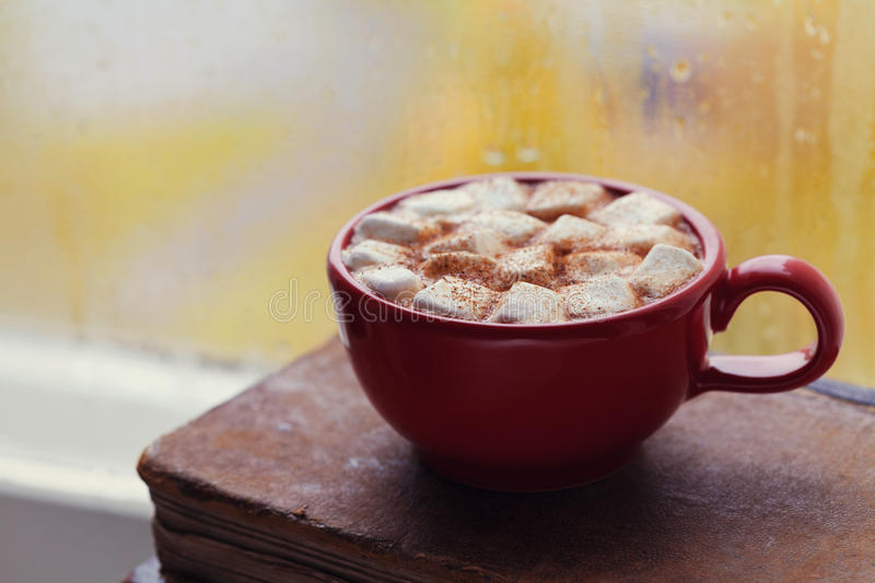 Cup of hot cocoa with marshmallow and old vintage book against window in autumn rainy day. Cozy breakfast. royalty free stock images