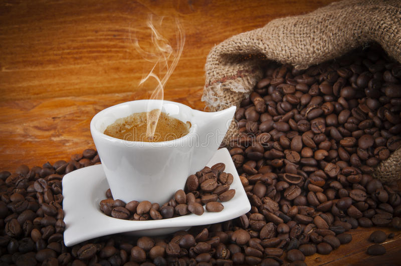 Download Cup Of Hot Coffee With Beans Stock Photo - Image: 25407018
