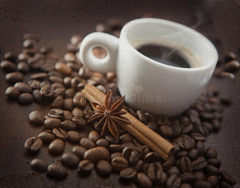 Download Cup Of Hot Coffee With Chinnamon, Anise Stock Image - Image: 24533485
