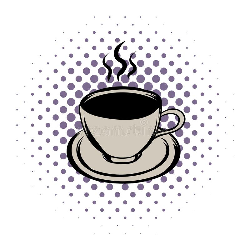 Cup of hot drink comics icon. On a white background stock illustration