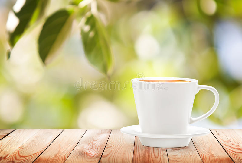 Cup of hot drink on summer background stock images