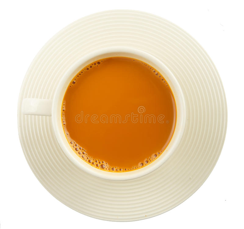 Cup of hot milk tea on white royalty free stock photos
