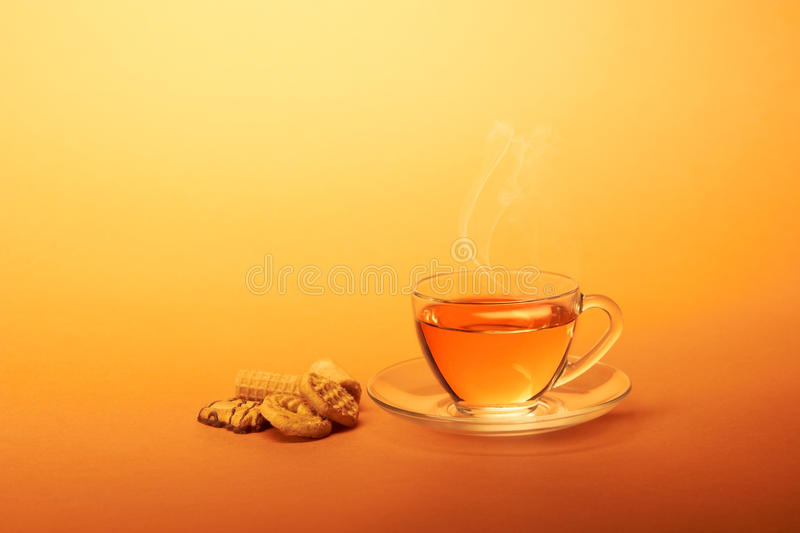 Cup of hot tea with chocolate cookies stock photography