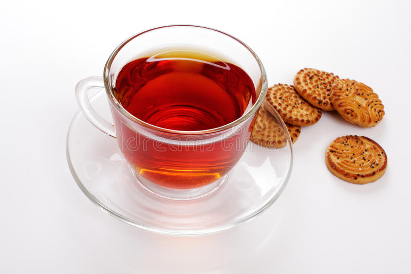 Cup of hot tea and cookies stock photo